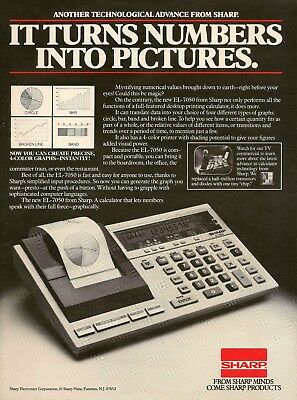 1982 Sharp EL-7050 Calculator Turns Numbers Into Pictures Vintage Print Ad