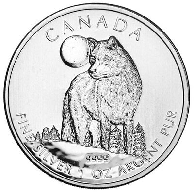 2011 Canadian $5 Wolf 1 oz .9999 Silver Coin - Wildlife Series - rare coin