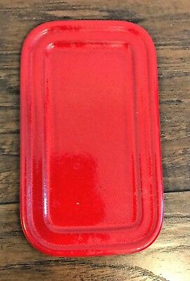 """Red Emile Henry France Butter Dish Plate Rectangle No Lid 7.5"""" by 4.5"""""""