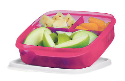 Tupperware Lunch-It Divided Square Snack Storage Pink Color White Seal New