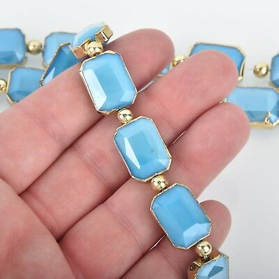 18mm Crystal Blue Glass RECTANGLE Beads Gold Bezel half strand 9 beads bgl1735