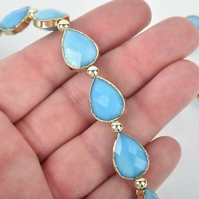 18mm Crystal Blue Glass TEARDROP Beads Gold Bezel half strand 9 beads bgl1733