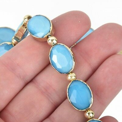 16mm Crystal Blue Glass OVAL Beads Gold Bezel half strand 9 beads bgl1729