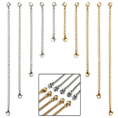 10pcs Stainless Steel Necklace Bracelet Extender Chain Jewelry Extenders Set USA