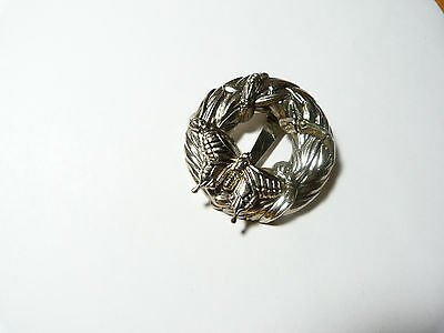 Vintage silver tone metal butterfly wreath scarf clip signed John Hardy