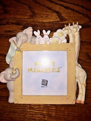 RUSS NOAH'S ARK ANIMALS Elephant Giraffe Rabbit Lamb CERAMIC PICTURE FRAME 7x7