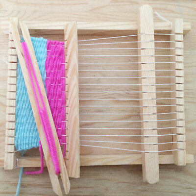 Mini Child Wood Handloom Developmental Toy Yarn Weaving Knitting Shuttle Loom QP