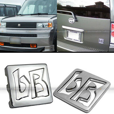 For 03-07 xB JDM bB Front Hood Grille Rear Trunk Chrome Finish Logo Badge Emblem