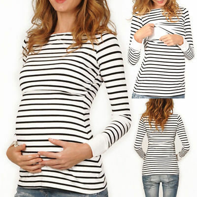 Women Long Sleeve Pregnant Nursing Breastfeeding Tops Maternity T-Shirt Clothes