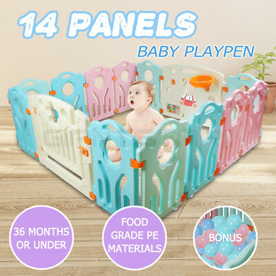 14 Panel Interactive Baby Playpen Kids Toddler Plastic Gate Safety Lock New