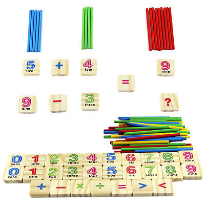 Baby Early Learning Wooden Numbers Stick Mathematics Counting Math Toys cp