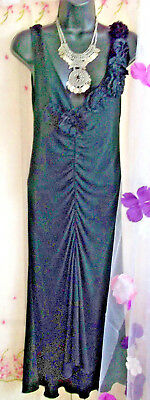 Gorgeous Black Dress By Moschino Cheap and Chic size 10, rose ruffle detail/plun