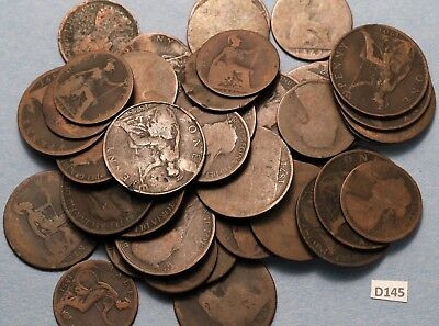 Lot of Pre 1901 UK 1C and 1/2C Victoria 17x Penny and 14 x Half Pennies D145