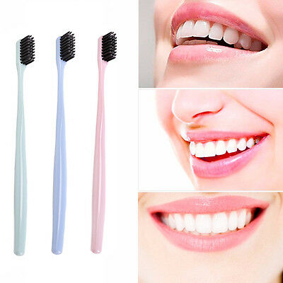 4Pcs Double Ultra Soft Toothbrushes Bamboo Charcoal Nano Brush Oral Denta Dwyx