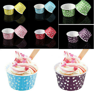 100Pcs Muffin Cupcake Dot Paper Grease-proof Liners Bake Case Decorate Wrapper