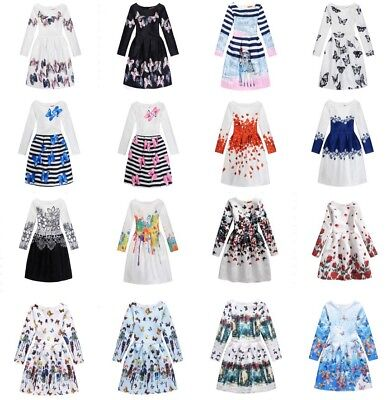 Girls Kid Children Dress butterfly Print Long Sleeve Princess Xmas Clothes 6-14