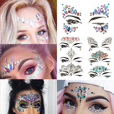 Face Gems Jewels Glitter Body Chest Tattoo for Festival Rave Makeup Party