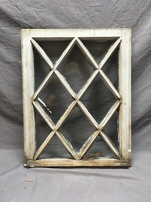 Antique Diamond Window Sash Shabby Cottage Chic Old 25x20 Vtg 17 Lite 449-18E