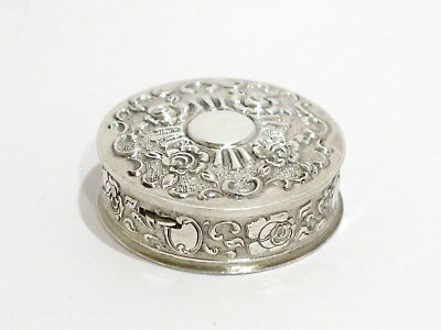 1 5/8 in Sterling Silver Gilt Interior Vintage W. German Floral Round Pill Case