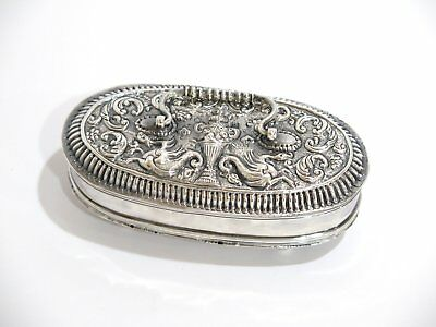 5 3/8 in - European Silver Antique Continental Footed Oval Box w/ Handle