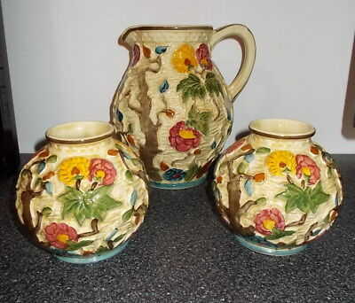 3 X H J WOOD Indian Tree Handpainted pottery