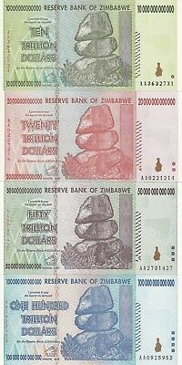 Zimbabwe full trillions set 10 20 50 and 100 trillions dollars 2008 UNC (e38)