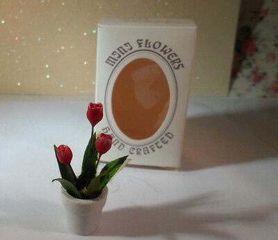 Dollhouse Miniature Plant Tulips Red Flower in White Pot, Minis 1:12 Scale
