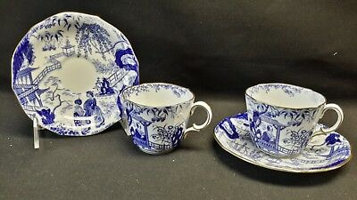 Royal Crown Derby Blue Mikado Pair of Cups & Saucers - 1914 Matching Date Cypher