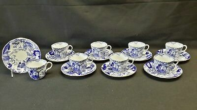 Royal Crown Derby Blue Mikado 8 Cups & Saucers 1925 - 1929 Matching Date Cyphers
