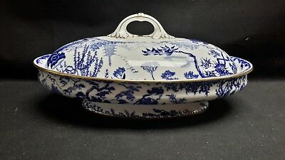 Royal Crown Derby England Blue Mikado - Oval Covered Vegetable Dish - With Fault