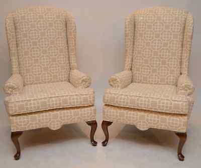 Pair of Antique  Style Wing Arm Chairs in Fabric Queen Anne Style Legs