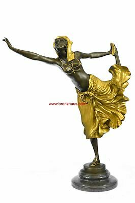 "EGYPTIAN DANCER Bronze Figure by Claire Jean Robert Colinet 17"" x 12"" (Gold)"