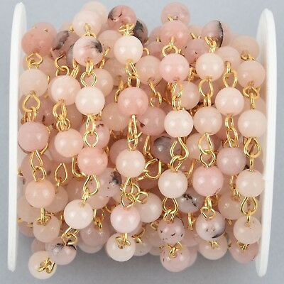 1 yard BLUSH PINK Agate Gemstone Rosary Chain, GOLD 6mm round fch1021a