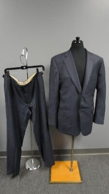 PAUL STUART Blue Wool Textured Lined Two Button Pant Suit Size 42-36 FF2823