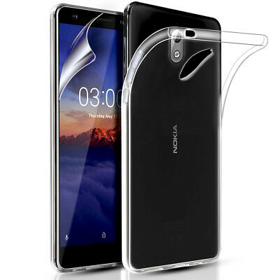 Nokia 3.1 Clear Slim Silicone Gel Phone Case Cover & Screen Protector