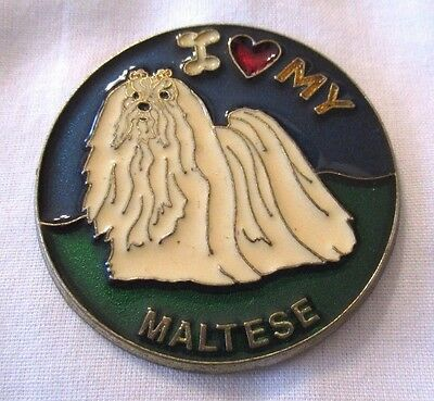 Stained Glass I love my Maltese Dog Magnet 2 inch Diameter