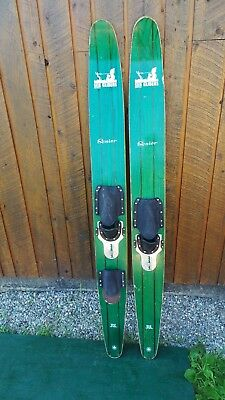 Antique Set Of Wooden 65 Long Waterskis Water Skis Signed Sea Gliders Senior