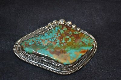 Handmade Sterling Silver and Turquoise Belt Buckle