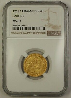 1741 Germany Saxony Gold Ducat Coin NGC MS-62 Pre-Unification