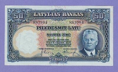 Latvia 50 Latu Banknote 1934 Choice About Uncirculated Condition Cat#20-A-883984