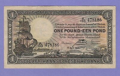 South Africa 1 Pound Banknote 13.4.1943 Very Fine Condition Cat#84-E-8186