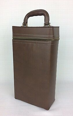 Vintage Brown Two Bottle Wine Carrier With Handle Hard Case Zipper