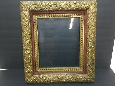 Beautiful Antique Victorian Gesso Gilt Ornate Large Picture Frame Leaves Logs