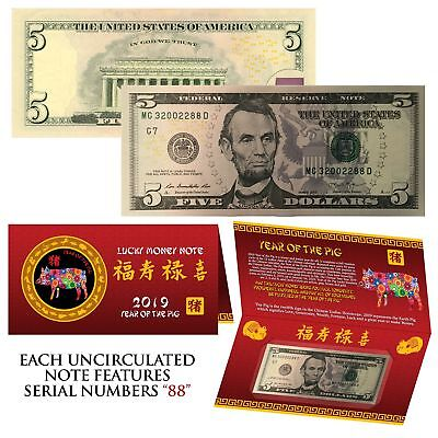 2019 Lunar Chinese New YEAR of the PIG Lucky U.S. $5 Bill w/ Red Folder - S/N 88