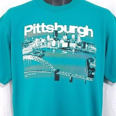 Pittsburgh T Shirt Vintage 80s City Of Bridges Pennsylvania Made In USA Large