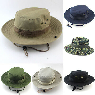 c85b08bed34f4 Bucket Hat Boonie Cap Outdoor Camping Fishing Washed Canvas Sun Hat with  Strings