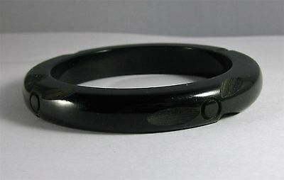 Vintage Deep Carved Flower Dark Green/Black  Bakelite Bangle Bracelet 34.6g