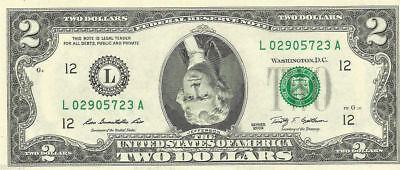 $2 Dollar Bill with Jefferson's FACE UPSIDE DOWN -REAL Money! (READ DESCRIPTOIN)