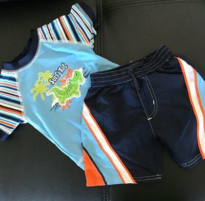 Baby Boys Size 000 Boardshorts and Rash vest Swimwear Summer New Free Post