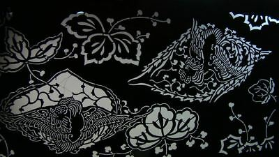 Intricate Antique Japanese Stencil w Bird & Flowers #3